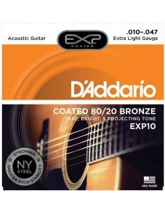 D'Addario EXP10 Coated 80/20 Bronze, Extra Light, 10-47