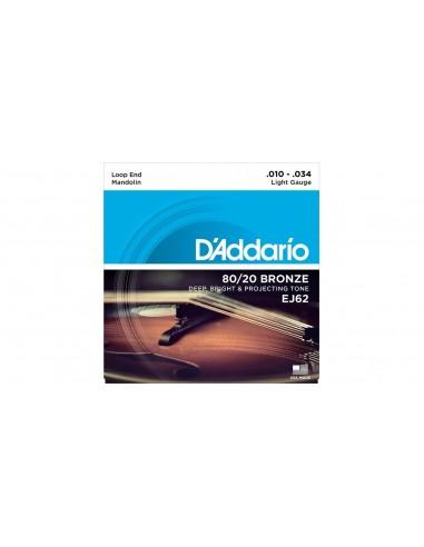 D'Addario EJ62 80/20 Bronze per Mandolino 10-34