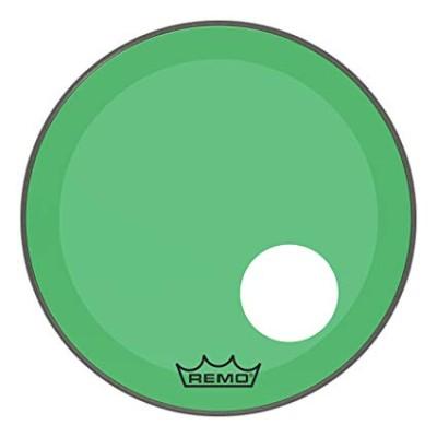 Remo P3-1324-CT-GNOH Powerstroke 3 Pelle Risonante per Grancassa con Foro da 24 Verde