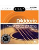 D'Addario EXP15 Coated Phosphor Bronze, Extra Light, 10-47