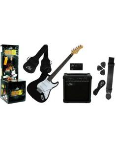 EKO - EG-11 PACK BLACK Chitarra elettrica nera con amplificatore e accessori