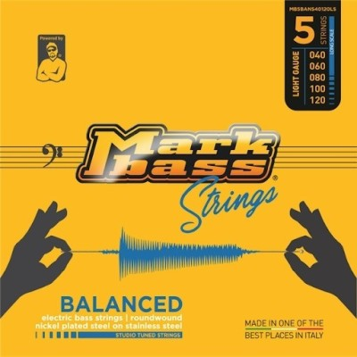 Markbass MB4BANS40100LS nickel plated steel on stainless steel STUDIO TUNED STRINGS - 040 060 080 100