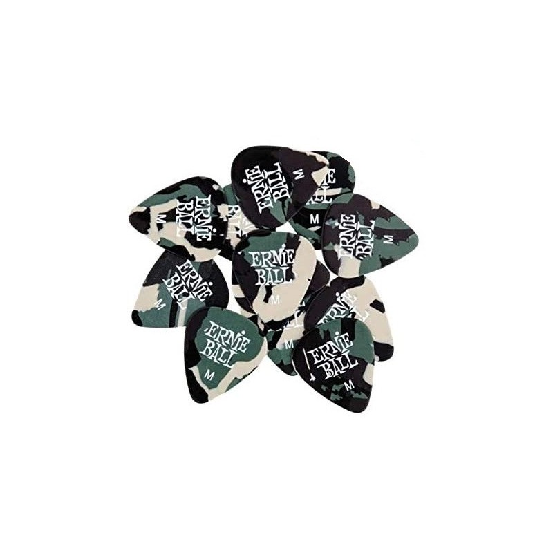 ERNIE BALL 9222 Camouflage Cellulose Picks Medium 12 pezzi